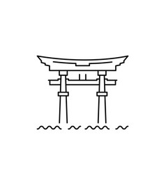 Japanese gate temple gate on lake biwa vector