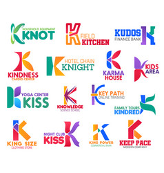 k letter corporate identity business icons vector image