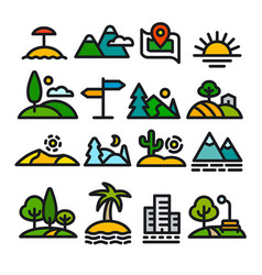 Landscapes icons set vector