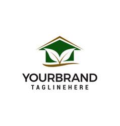 leaf house logo design concept template vector image