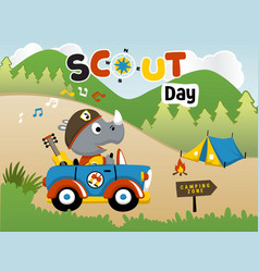 little rhino the scout boy on a car at scout day vector image