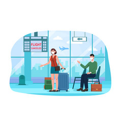 man and woman in airport with flight cancellation vector image