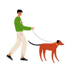 man walking with dog volunteer at work vector image