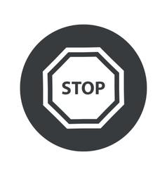 Monochrome round STOP icon vector