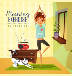 Morning exercises cartoon composition vector