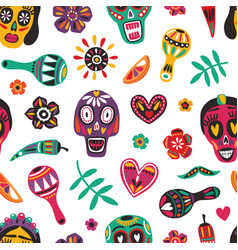 motley seamless pattern with mexican sugar skulls vector image