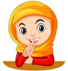 Muslim girl gesturing quiet sign vector