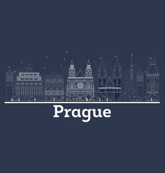 outline prague czech republic city skyline vector image