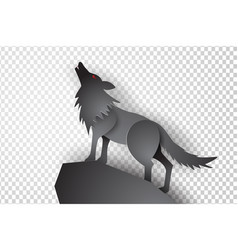 paper art and craft of wolf with transparency vector image