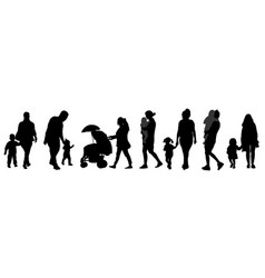 parents with children silhouettes vector image
