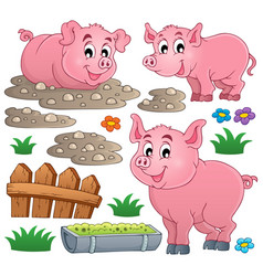 pig theme collection 1 vector image