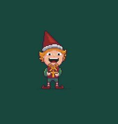Pixel art elf vector