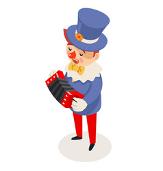 play music harmonic accordion clown isometric vector image