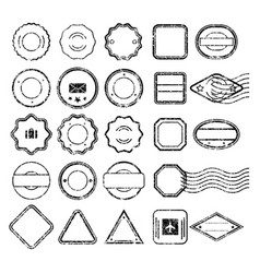 postal stamps set black without text vector image vector image
