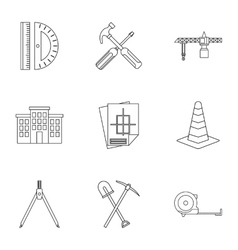 Repair icons set outline style vector image
