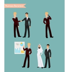 Retro Vintage Successful Businessman Working Set vector image