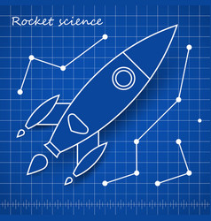 rocket scince blueprint template with blue vector image