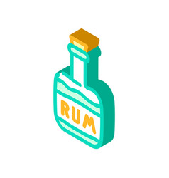 Rum drink bottle pirate isometric icon vector
