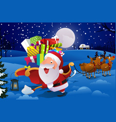 Santa claus with sleigh shoveling snow vector