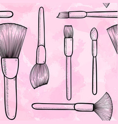 seamless pattern black and white make up brushes vector image