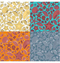 Seamless pattern made of shells vector