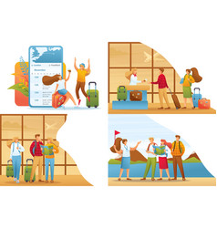 Set 2d flat concepts tourists on vacation vector
