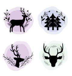 Set deer with branches and pine trees concept vector