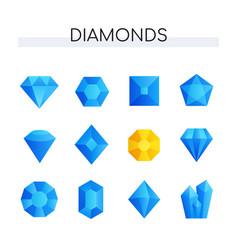 set diamonds - realistic objects vector image