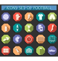 set icons football in flat style vector image