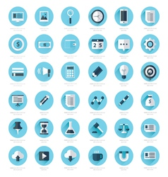 Set of flat design icons blue color styles vector