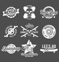 Set of vintage biking and skating badges vector