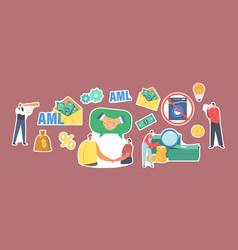 Set stickers aml anti money laundering campaign vector