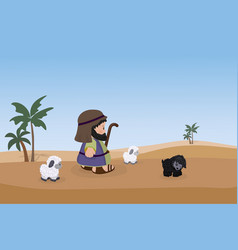Shepherd with sheeps on a background of desert and vector