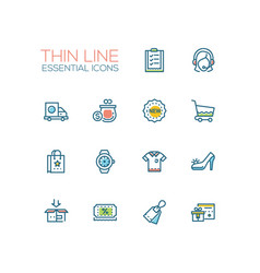 shopping - line icons set vector image