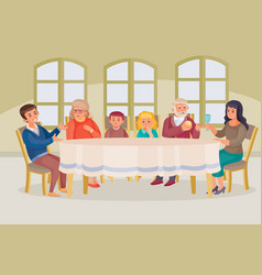 Sitting at a large family table in a room vector