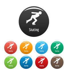 skating icons set color vector image