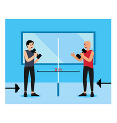 social distance in gym flat design vector image