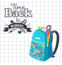 time back to school poster rucksack on leaflet vector image
