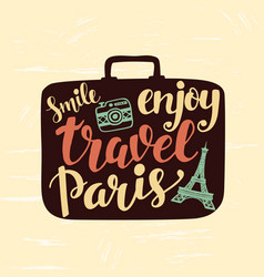 Travel label with lettering in suitcase vector