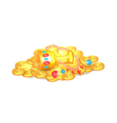 treasure coins and cup poster vector image