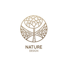 tropical plant logo round emblem flower in vector image