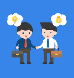 two businessman make a deal contract between idea vector image