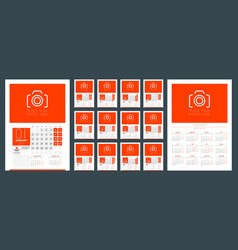 wall calendar template for 2020 year week starts vector image