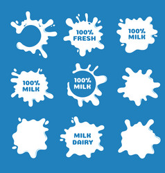 white milk yogurt and cream splash and blot vector image