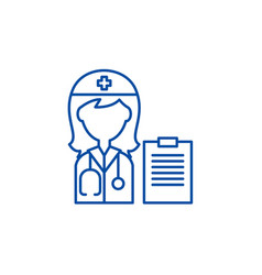 woman doctor line icon concept woman doctor flat vector image