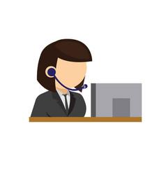 Woman secretary receptionist call center icon vector