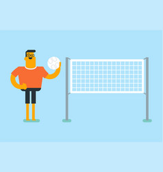 young caucasian white sportsman playing volleyball vector image