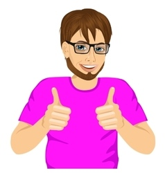 young man showing thumbs up sign vector image