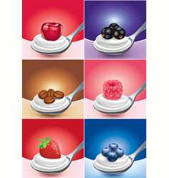 cream on spoon with different fruits vector image
