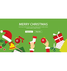 merry christmas banner flat design vector image